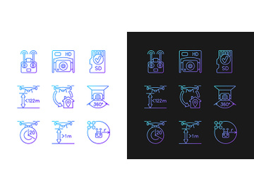 Drone care gradient manual label icons set for dark and light mode preview picture