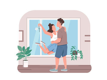 Young couple with new apartment key 2D vector web banner, poster preview picture