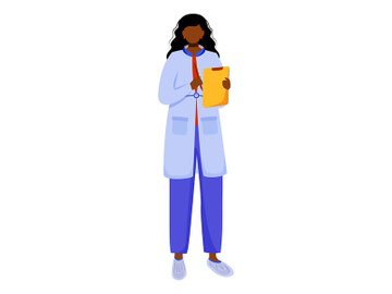 Scientist with clipboard and pen flat vector illustration preview picture
