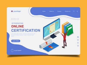 Online certification landing page illustration template preview picture