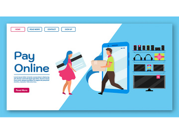 Pay online landing page vector template preview picture