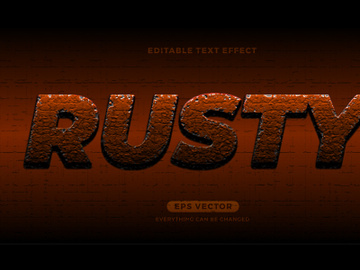 Rusty editable text effect style vector preview picture