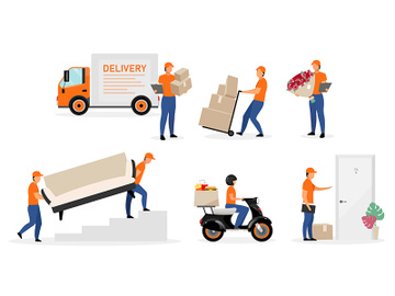 Delivery service workers flat vector illustrations set preview picture