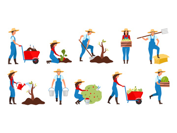 Farmers gardening flat vector illustrations set preview picture