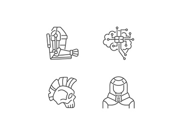 Cyberpunk augmentations linear icons set preview picture