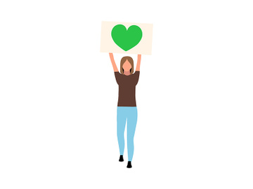 Woman promoting love for environment semi flat color vector character preview picture