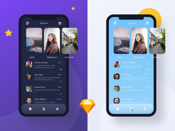 Outline Day and Night mode UI Kit preview picture