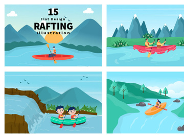 15 Rafting, Canoeing, Kayaking in the River Vector Illustration preview picture