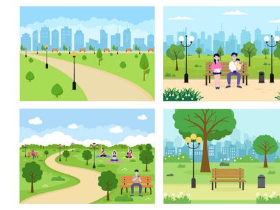 20 City Park Illustration