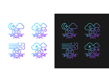 Aerial drone gradient manual label icons set for dark and light mode preview picture