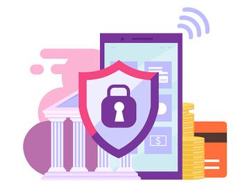 Mobile banking security flat illustration preview picture