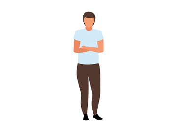 Man with crossed arms on chest semi flat color vector character preview picture