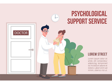 Psychological support service banner flat vector template preview picture