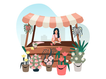 Flowers market stall with seller flat illustration preview picture