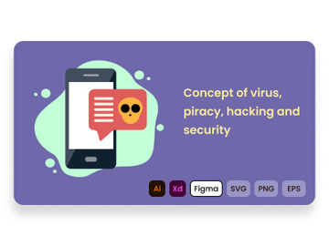Concept of virus, piracy, hacking and security preview picture