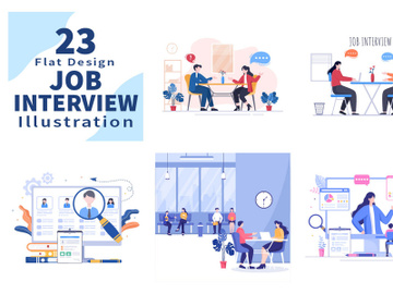 23 Job Interview Meeting and Hiring Online Vector Illustration preview picture