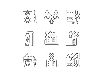 Power bank instruction linear manual label icons set preview picture