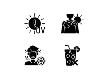 Sunburn risk black glyph icons set on white space preview picture