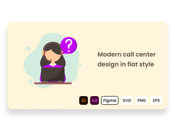 Modern call center design in flat style. preview picture