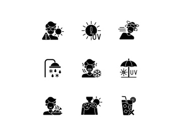 Heatstroke risk during summer black glyph icons set on white space preview picture