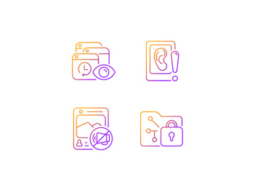 Computer activity monitoring gradient linear vector icons set preview picture