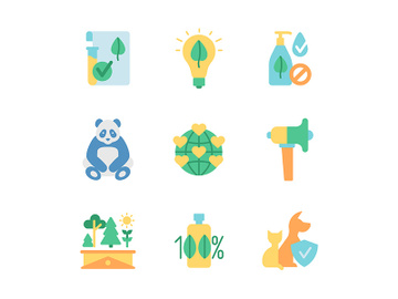 Global environment protection vector flat color icon set preview picture