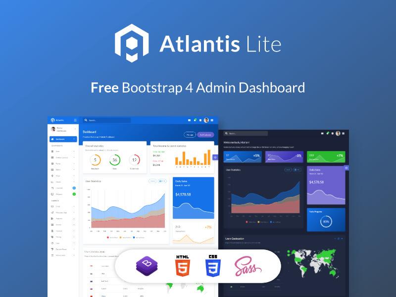 Atlantis Lite - Free Bootstrap 4 Admin Dashboard preview picture
