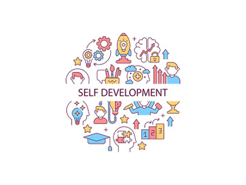 Self development abstract color concept layout with headline preview picture