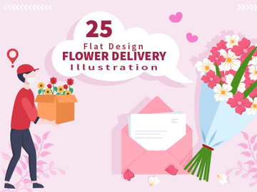 25 Flower Delivery Courier Service Online Vector Illustration preview picture