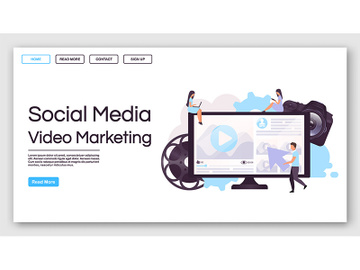 Social media video marketing landing page vector template preview picture
