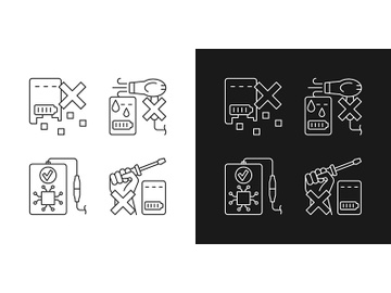 Extending power bank life linear manual label icons set for dark and light mode preview picture