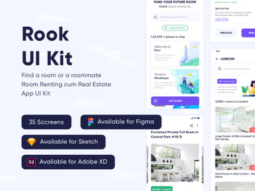 Rook - Room Booking and Real-Estate App UI Kit preview picture