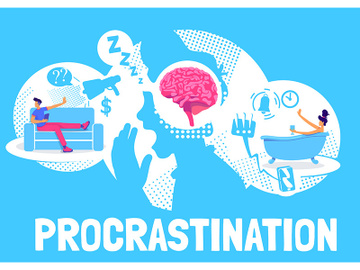 Procrastination poster flat vector template preview picture