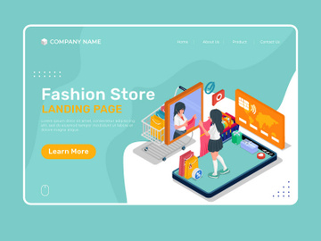 Fashion store illustration - Landing page illustration template preview picture