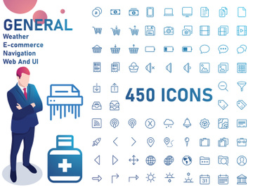 General IconSet : Shopping, Weather, Ui, E-commerce, Arrows, Navigation, Web, Electronicse preview picture