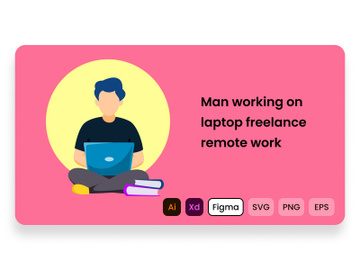 Man working on laptop freelance remote work. preview picture