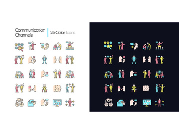 Communication channel light and dark theme RGB color icons set preview picture