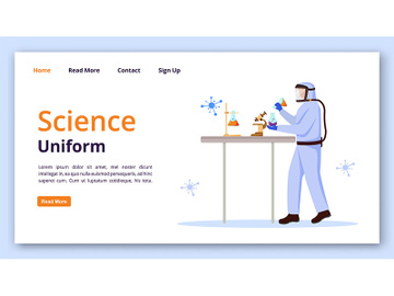 Science uniform landing page vector template preview picture
