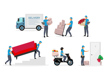 Delivery service flat vector illustrations set preview picture