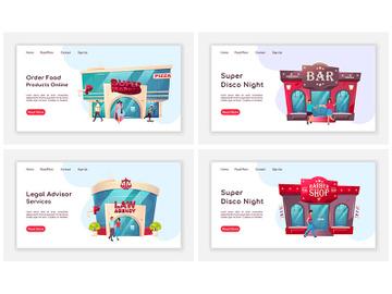 Shop front landing page flat color vector template set preview picture