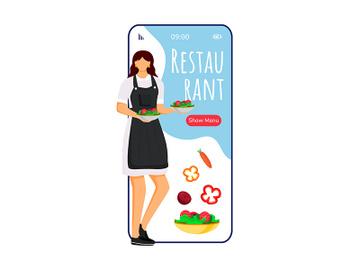 Hotel restaurant cartoon smartphone vector app screen preview picture