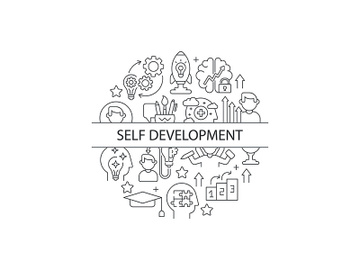 Self development linear concept layout with headline preview picture