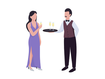 Waiter serving sparkling wine to lady semi flat color vector characters preview picture