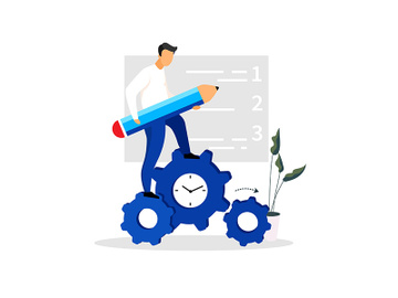 Man, entrepreneur, manager, businessman standing on clock gear flat vector illustration preview picture