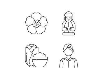 Korean nationals symbols linear icons set preview picture