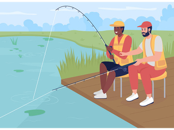 Fishing with friend flat color vector illustration preview picture