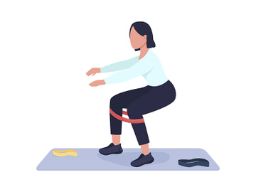 Woman doing squat exercise semi flat color vector character preview picture