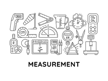 Measurement tools abstract linear concept layout with headline preview picture