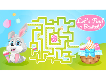 Lets find basket labyrinth with cartoon character template preview picture