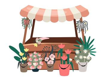 Flowers market stall flat vector illustration preview picture